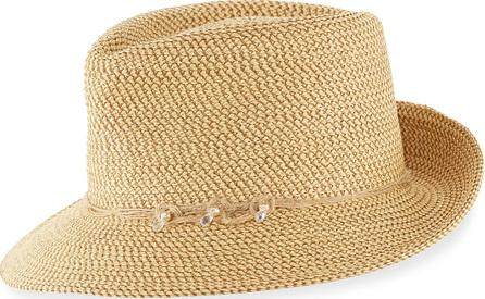 Eric Javits Mustique Squishee Packable Sun Fedora Hat, Beige