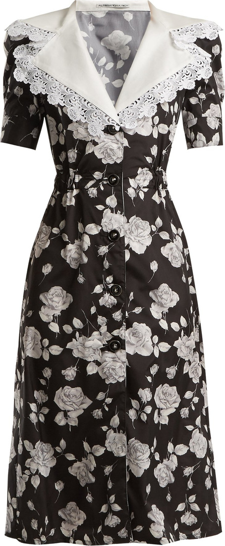 Alessandra Rich Rose-print lace-trimmed dress
