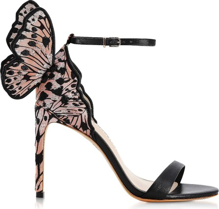 Sophia Webster Chiara Embroidery Black & Nude Silk and Leather Sandals
