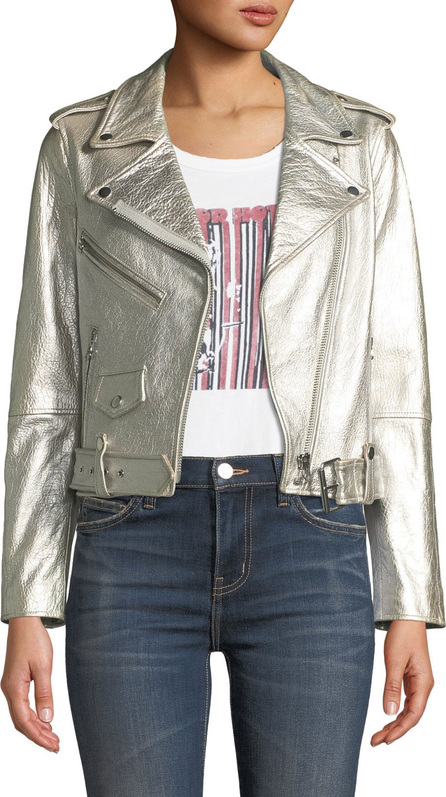 Current/Elliott The Shaina Metallic Leather Biker Jacket