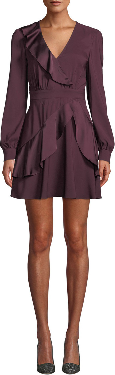 Parker Nancy Long-Sleeve Ruffle Combo Mini Dress