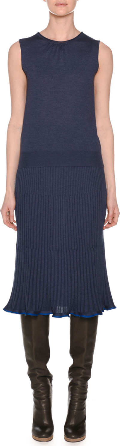 Agnona Sleeveless Crewneck Knit Pullover Top