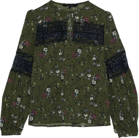 W118 by Walter Baker Erin lace-paneled floral-print crepe top
