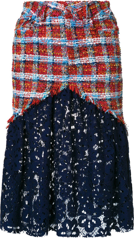 Daizy Shely Lace-panelled tweed skirt