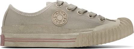 Acne Studios Grey Canvas Logo Patch Sneakers