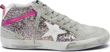 Golden Goose Deluxe Brand 'Mid Star' suede panel glitter coated leather sneakers