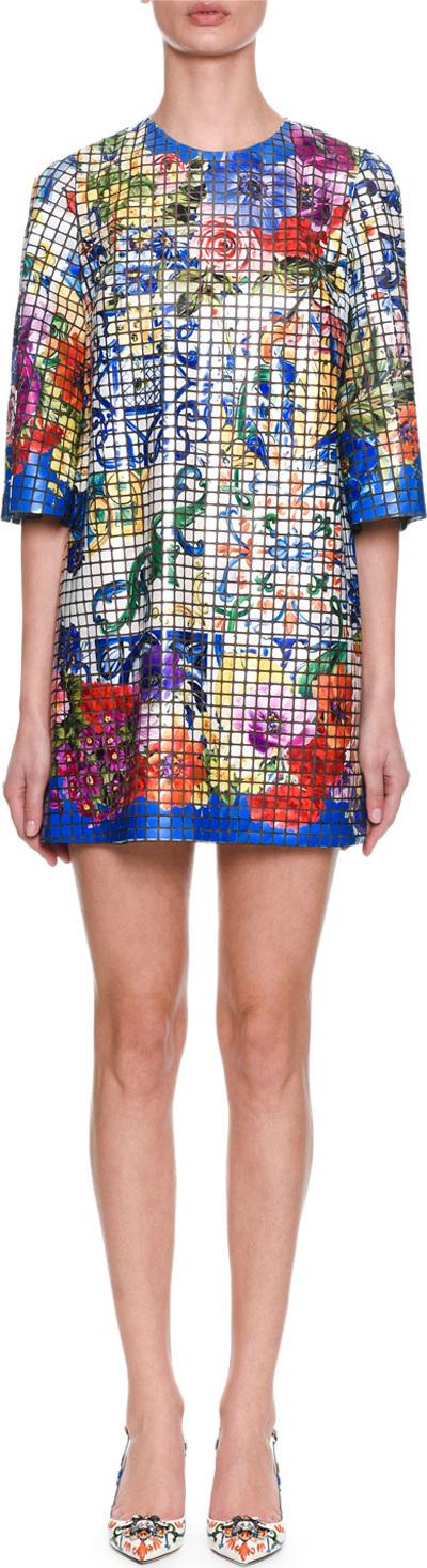 Dolce & Gabbana Short-Sleeve Maiolica-Tile On Tulle Oversize Tunic Dress