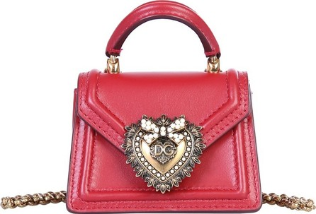 Dolce & Gabbana Bright Red Leather Micro Devotion Bag
