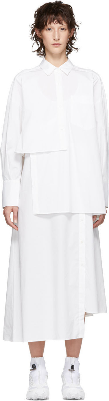 Enfold White Layered Typewriter Shirt Dress