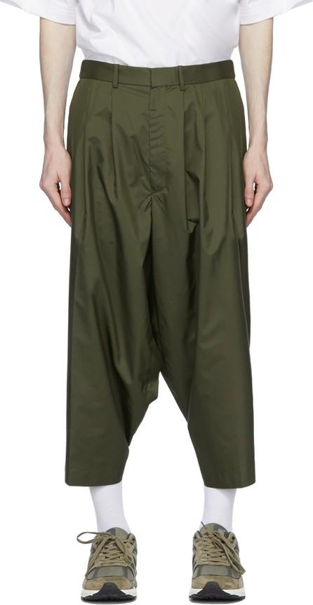 N.Hoolywood Khaki Technical Cropped Trousers