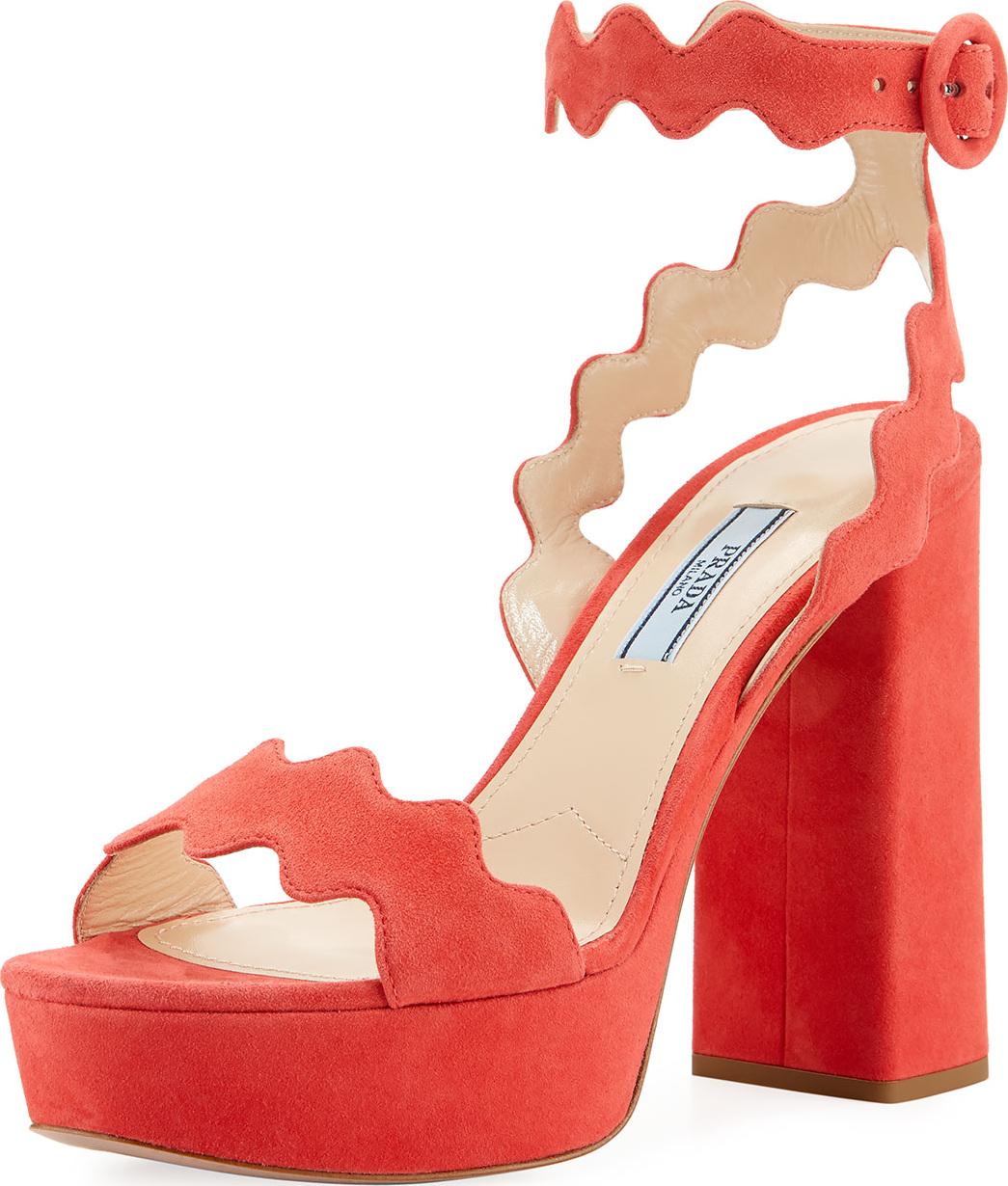Prada - Scalloped Suede Platform Sandal