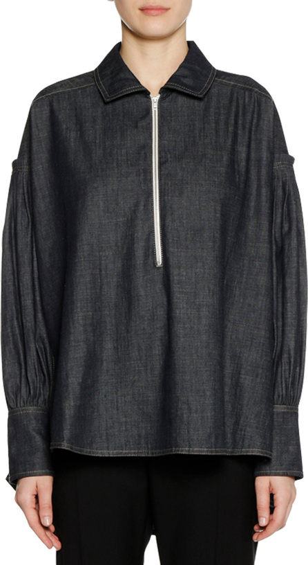 Marni Long-Sleeve Zip-Front Denim Twill Chambray Blouse
