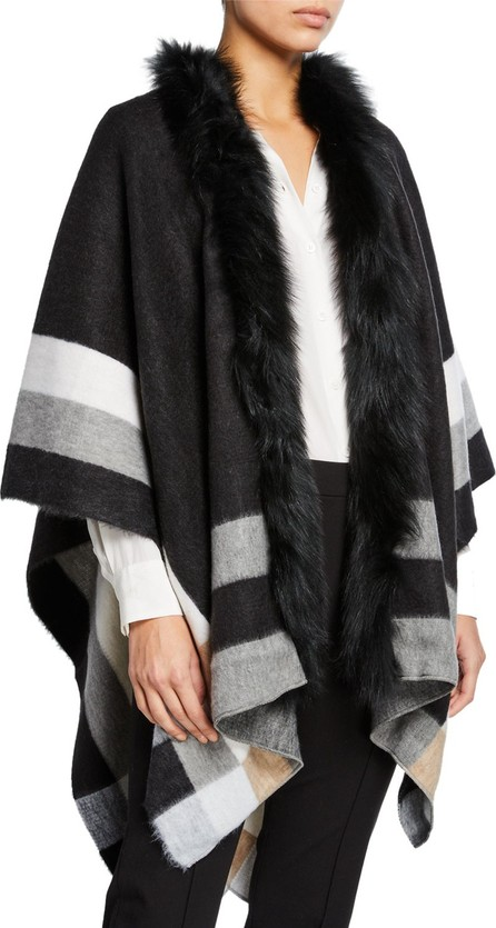 Kelli Kouri Colorblock Wrap w/ Fur Collar