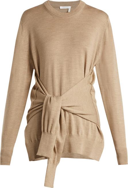 Chloe Knotted sleeve-waist wool sweater