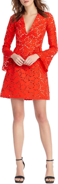 ML Monique Lhuillier Bell-Sleeve Mini Dress w/ Laser-Cut Detail