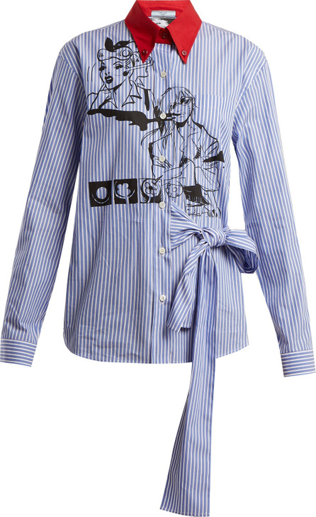 Prada Comic-print cotton-poplin shirt