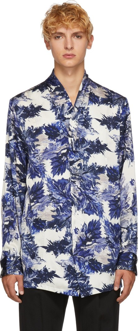 BED J.W. FORD Blue & White Ogami Print Shirt