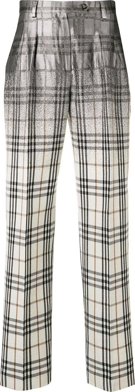 Alberta Ferretti Checked straight-leg trousers