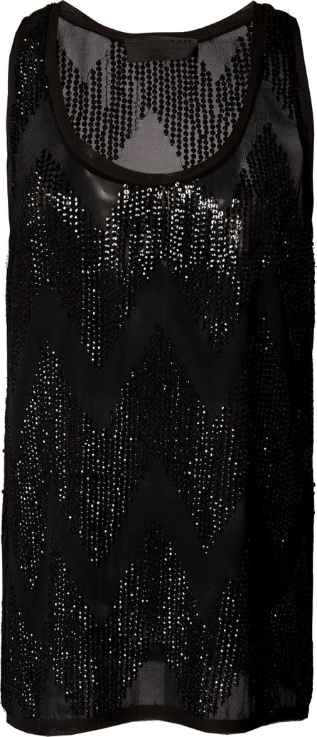 Nili Lotan Cosette Sequin-Embellished Beaded Silk Top