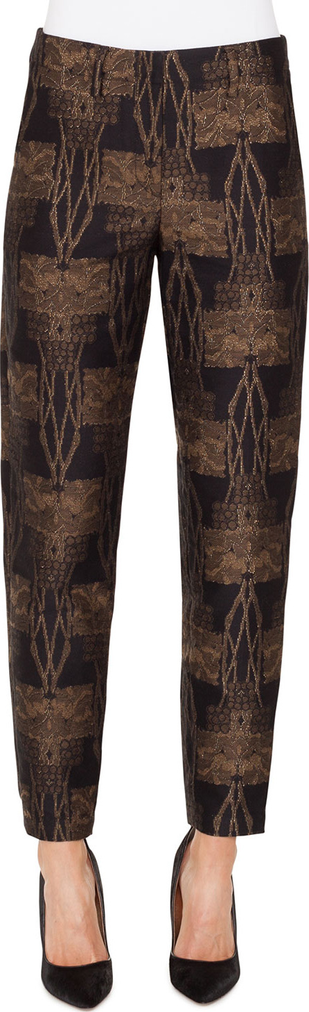 Akris Metallic Fruit of Vienna Jacquard Conical-Leg Pants