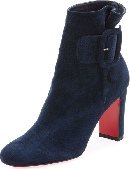 Christian Louboutin Tres Olivia Suede Buckled Red Sole Bootie