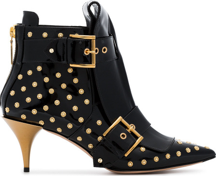 Alexander McQueen Double buckle studded patent leather boots