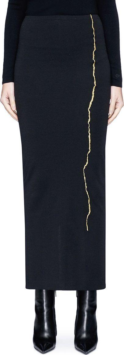 Haider Ackermann 'Nagel' metallic embroidered jersey pencil skirt