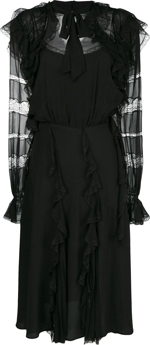 Ermanno Scervino - Lace and frill trim midi dress