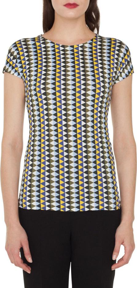 Akris Round-Neck Cap-Sleeve Diamond-Stripe Cotton Jersey T-Shirt