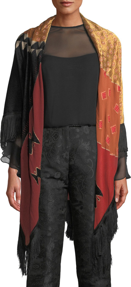 Etro Patchwork Tribal Wrap w/ Fringe Trim