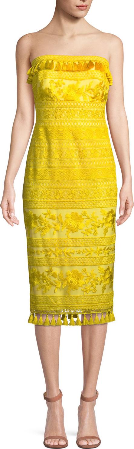 Tadashi Shoji Sol Strapless Tassel-Trim Dress