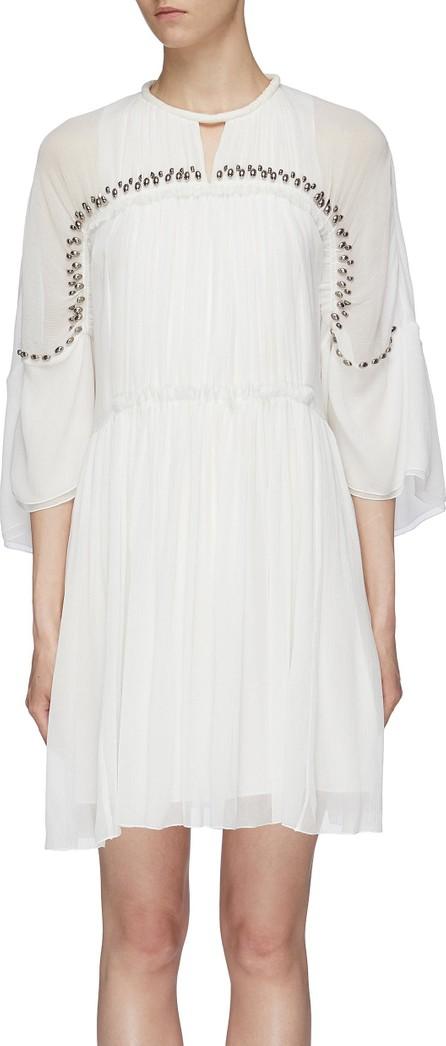Chloe Beaded yoke pleated silk chiffon dress
