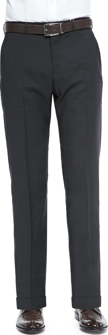 Armani Collezioni Wool Pindot Trousers, Dark Brown/Olive