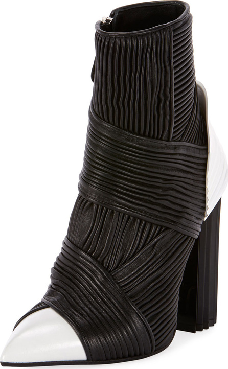Balmain Irina Pleated Two-Tone Bootie