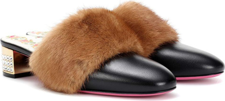 Gucci Fur-trimmed leather mules