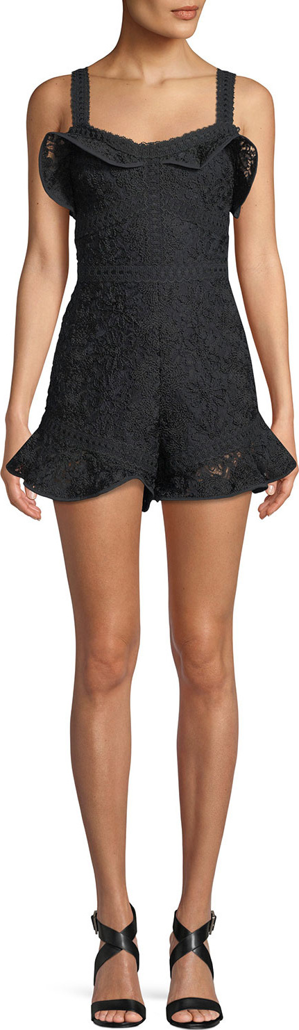 Alexis Star Embroidered Sleeveless Flounce Romper