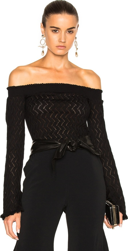 Erdem Bella Lace Knit Off The Shoulder Sweater