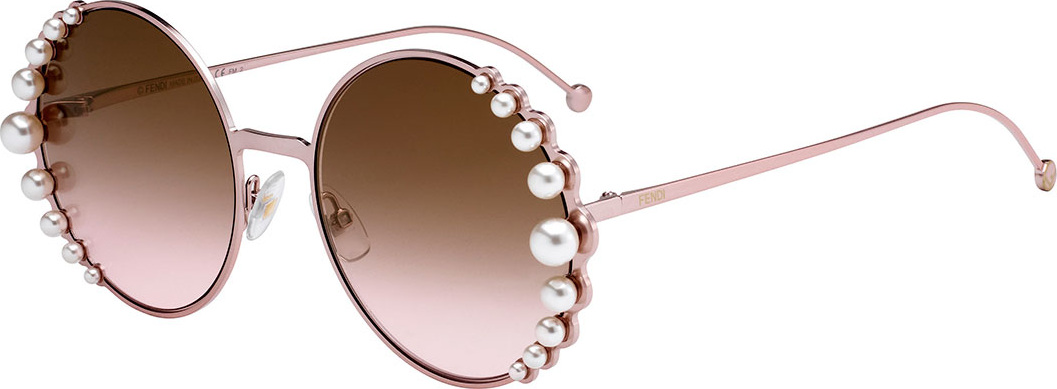 7f3af9dc29ee Fendi Round Metal Sunglasses w  Pearly Trim - Mkt