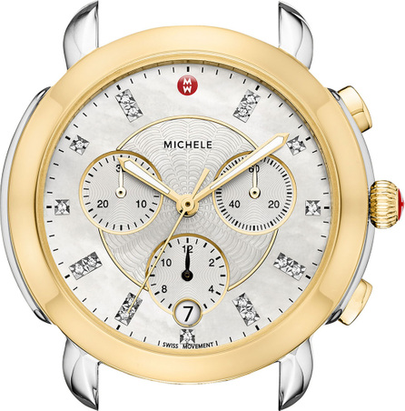 MICHELE Sidney 18K Two-Tone Watch Head with Diamonds, Gold/White