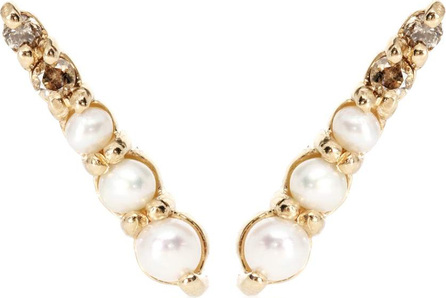 Anna Sheffield Pavé Pointe 14kt gold earrings with pearls and diamonds