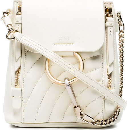 Chloe White Faye Mini Quilted Leather Backpack