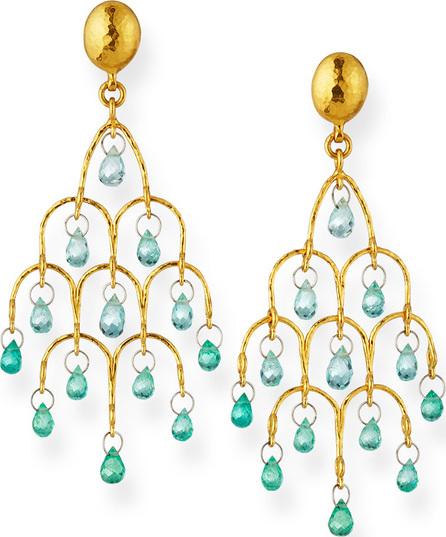GURHAN 22k Gold Delicate Dew Emerald Chandelier Earrings