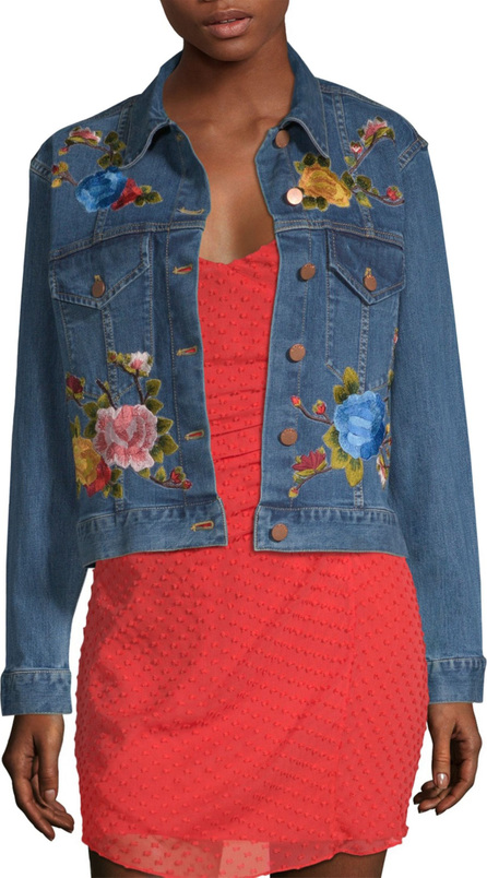 AO.LA by alice + olivia Chloe Embroidered Boxy Denim Jacket