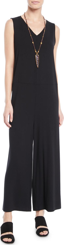 Eileen Fisher Wide-Leg Viscose Jersey Jumpsuit, Plus Size
