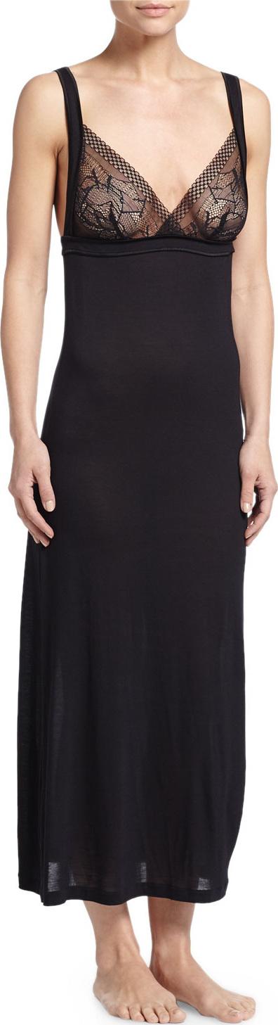 La Perla Myrta Lace-Front Long Nightgown