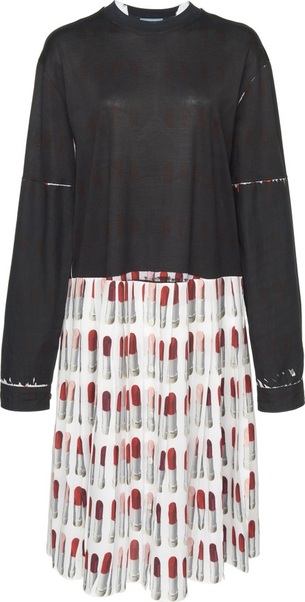 Prada Pleated Printed Crepe and Jersey Dress