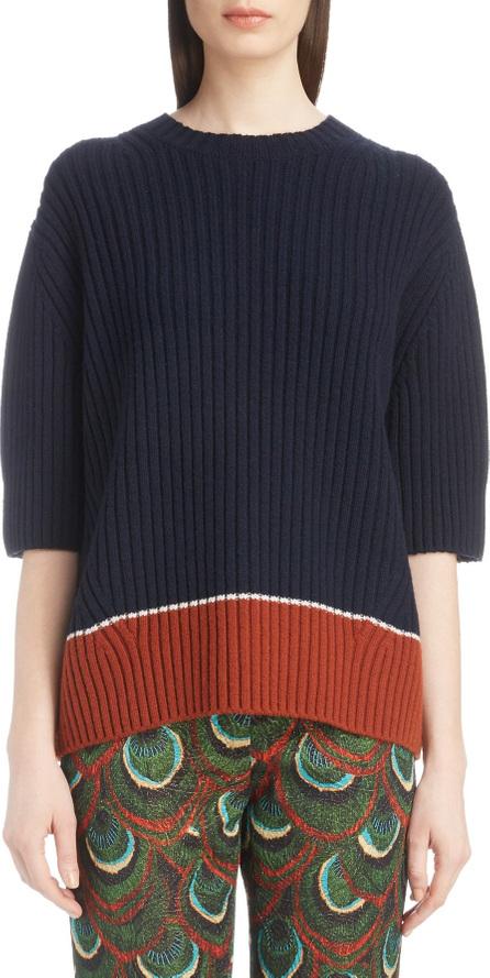 Dries Van Noten Contrast Hem Merino Wool & Cashmere Sweater