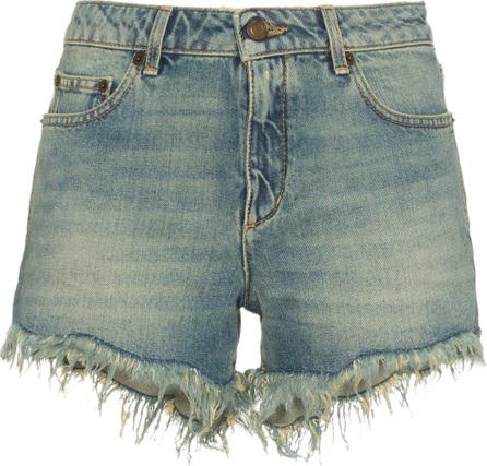 Saint Laurent Low rise frayed denim shorts
