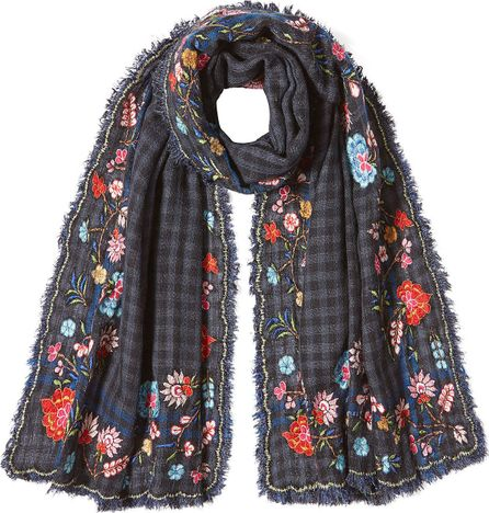 Faliero Sarti Embroidered Scarf with Wool and Silk