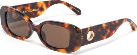 Linda Farrow Tortoiseshell effect acetate frame rectangular sunglasses